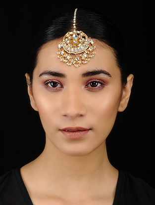 Gold Tone Silver Maangtika with Pearls