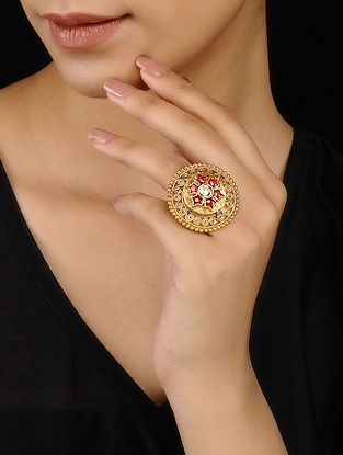 Red Kundan-inspired Gold Tone Adjustable Silver Ring