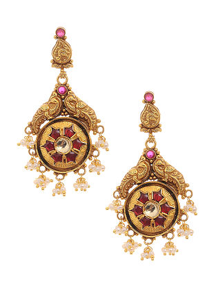 Red Kundan-inspired Gold Tone Silver Earrings