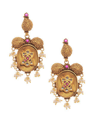 Red Kundan-inspired Gold Tone Silver Earrings with Pearls