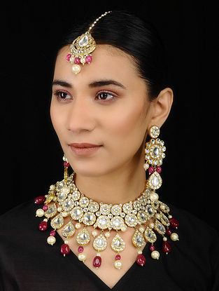 Pink Kundan-inspired Gold Tone Silver Necklace, Maangtika and a Pair of Earrings (Set of 3)