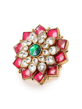 Red-Green Kundan-inspired Gold Tone Silver Ring