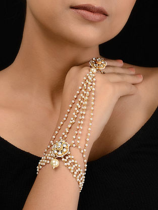 Kundan-inspired Gold Tone Silver Hathphool with Pearls