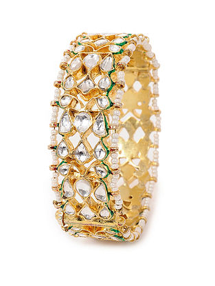 Green Kundan-inspired Hinged Opening Gold Tone Silver Bangle (Bangle Size -2/4)