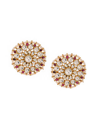 Pink Kundan-inspired Gold Tone Silver Earrings
