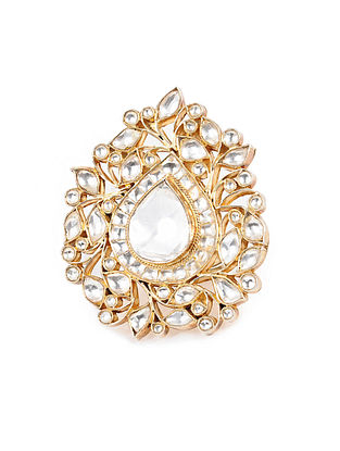 Kundan-inspired Gold Tone Adjustable Silver Ring