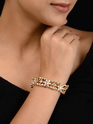 Kundan-inspired Gold Tone Silver Bracelet
