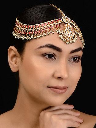 Pink Kundan-inspired Gold Tone Silver Matha Patti