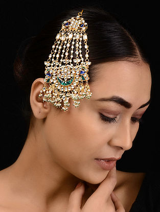 Green-Blue Kundan-inspired Gold Tone Silver Passa