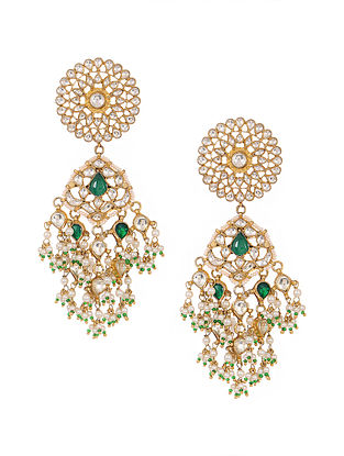Green Kundan-inspired Gold Tone Silver Earrings