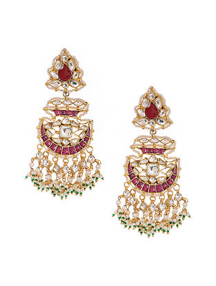 Pink Kundan-inspired Gold Tone Silver Earrings with Pearls