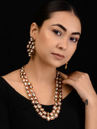 Red Enameled Kundan-inspired Gold Tone Silver Necklace with a Pair of Earrings (Set of 2)