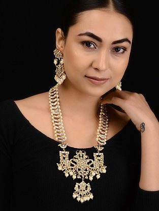 Kundan-inspired Gold Tone Silver Necklace with a Pair of Earrings (Set of 2)