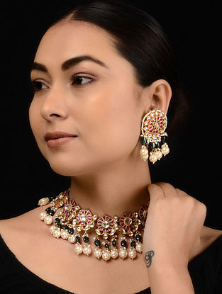 Pink-Green Kundan-inspired Gold Tone Silver Necklace with a Pair of Earrings (Set of 2)