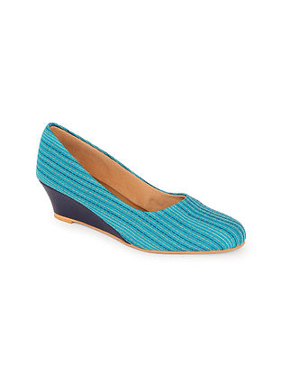Blue Handcrafted Cotton Wedges
