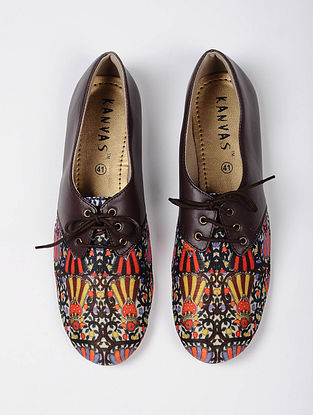 Brown-Multicolored Handcrafted Silk Oxford Shoes
