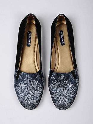 Blue Black Handcrafted Silk Moccassins