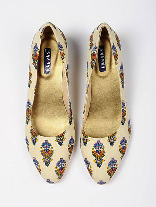 White Blue Handcrafted Printed Cotton Heels