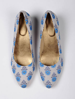 Blue Handcrafted Printed Cotton Heels