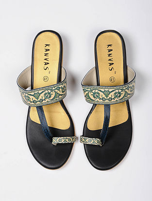 Green Handcrafted Faux Leather Kolhapuri Flats