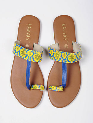 Blue Yellow Handcrafted Faux Leather Kolhapuri Flats