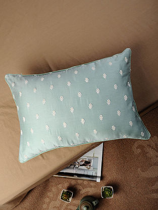 Olive Hand Embroidered Chanderi Silk and Cotton Silk Cushion Cover (20in x 14in)