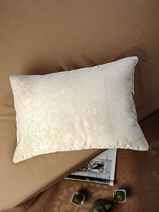 Off-white Hand Embroidered Chanderi Silk and Cotton Silk Cushion Cover (20in x 14in)