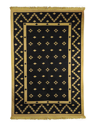 Black-Yellow Cotton Punja Durrie 72in x 49in