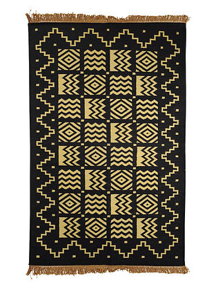 Black-Yellow Cotton Punja Durrie 60in x 37in