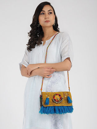 Multicolored Hand-Embroidered Rabari Sling Bag with Tassels