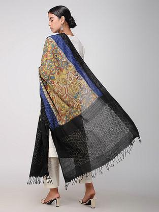 Beige-Black Hand-painted Ikat Cotton Kalamkari Dupatta