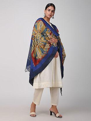 Beige-Blue Hand-painted Ikat Cotton Kalamkari Dupatta