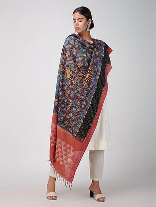 Blue-Red Hand-painted Ikat Cotton Kalamkari Dupatta