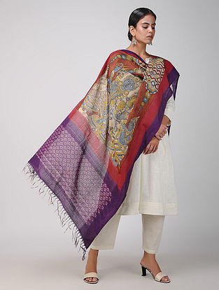 Red-Purple Hand-painted Ikat Cotton Kalamkari Dupatta
