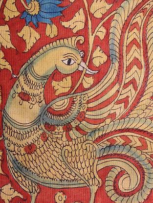 Red-Beige Hand-painted Ikat Cotton Kalamkari Dupatta