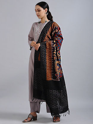 Black-Blue Hand Painted Kalamkari Ikat Cotton Dupatta