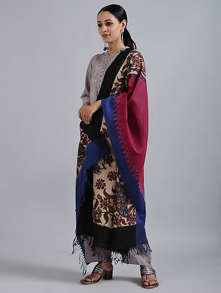 Pink-Blue Hand Painted Kalamkari Ikat Cotton Dupatta