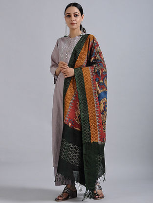 Red-Green Hand Painted Kalamkari Ikat Cotton Dupatta