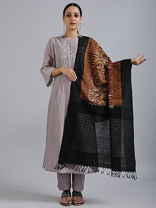 Beige-Black Hand Painted Kalamkari Ikat Cotton Dupatta