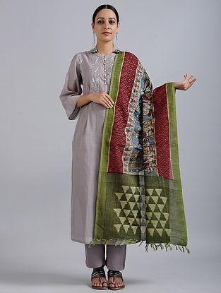 Green-Red Hand Painted Kalamkari Ikat Cotton Dupatta