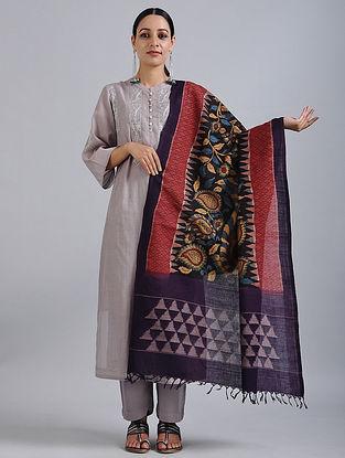 Black-Purple Hand Painted Kalamkari Ikat Cotton Dupatta