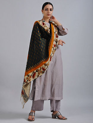 Black-Ivory Hand Painted Kalamkari Ikat Cotton Dupatta