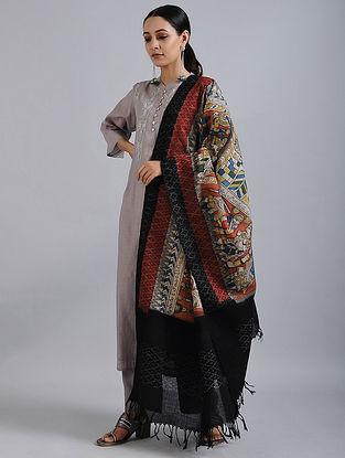 Ivory-Black Hand Painted Kalamkari Ikat Cotton Dupatta