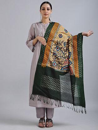 Beige-Green Hand Painted Kalamkari Ikat Cotton Dupatta