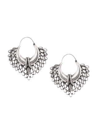 Crystal Tribal Silver Earrings