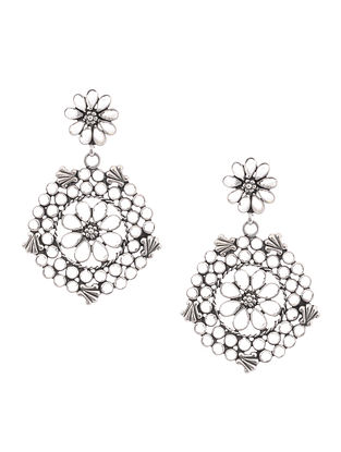 Crystal Silver Earrings with Floral Design