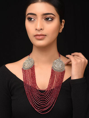Maroon Beaded Tribal Silver Necklace