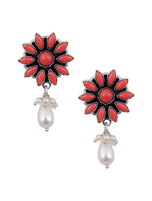 Coral Silver Earrings with Pearls