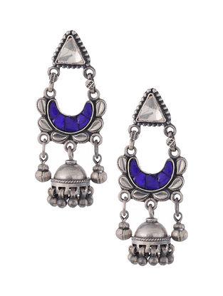 Blue Glass Tribal Silver Jhumki Earrings
