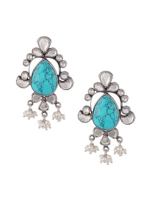 Turquoise Tribal Silver Kundan Earrings with Pearls